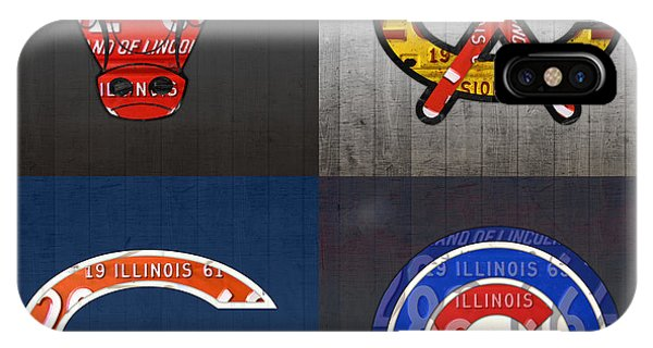 University Of Illinois iPhone Case - Chicago Sports Fan Recycled Vintage Illinois License Plate Art Bulls Blackhawks Bears And Cubs by Design Turnpike