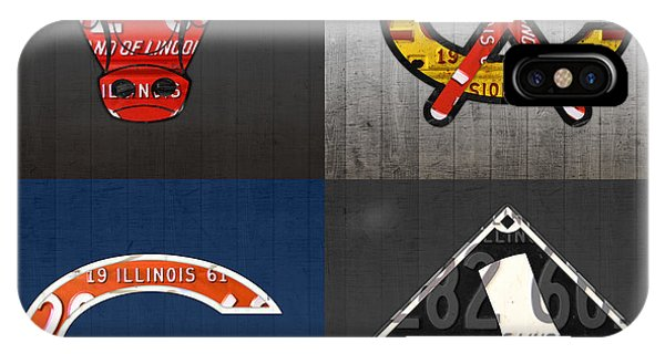 License iPhone Case - Chicago Sports Fan Recycled Vintage Illinois License Plate Art Bulls Blackhawks Bears And White Sox by Design Turnpike
