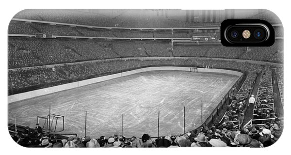 IPhone Case featuring the photograph Chicago Stadium Prepared For A Chicago Blackhawks Game by Celestial Images