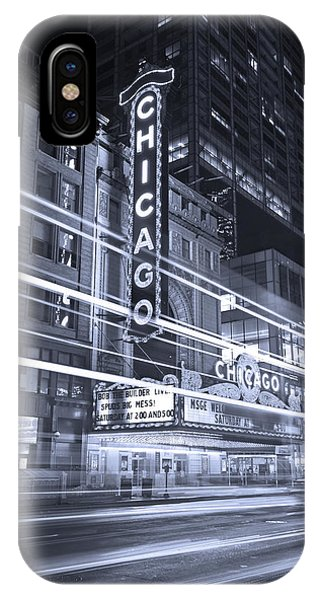 City iPhone Case - Chicago Theater Marquee B And W by Steve Gadomski