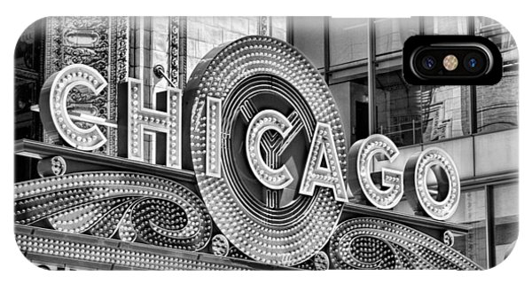 Chicago Theatre Marquee Black And White IPhone Case