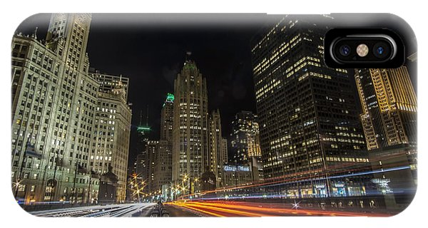 Chicago's Mag Mile Night Streaks IPhone Case