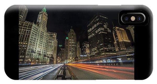 Chicago's Mag Mile Night Streaks IPhone Case