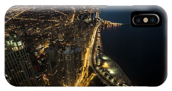 Chicago's North Side From Above At Night  IPhone Case