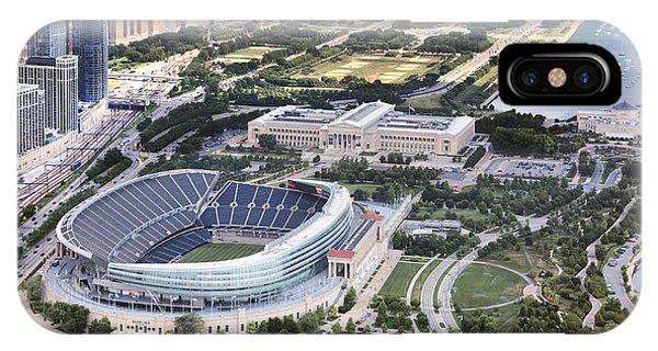 Chicago Skyline Art iPhone Case - Chicago's Soldier Field by Adam Romanowicz