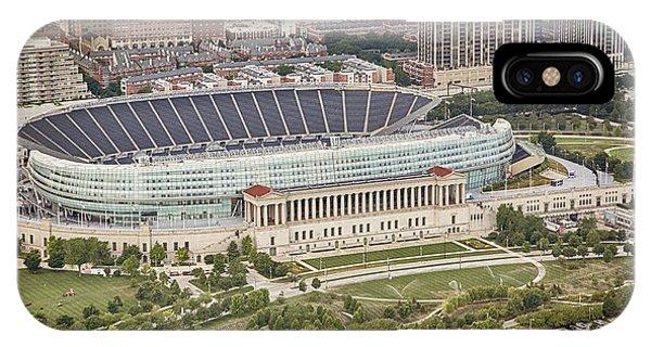 Chicago Skyline Art iPhone Case - Chicago's Soldier Field Aerial by Adam Romanowicz