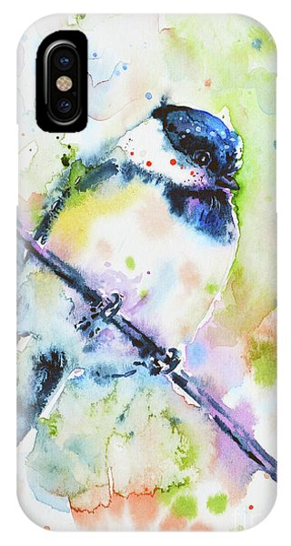 IPhone Case featuring the painting Chick-a-dee-dee-dee by Zaira Dzhaubaeva