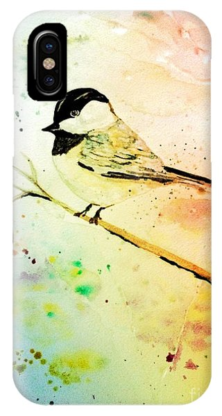 IPhone Case featuring the painting Chick-a-dee by Denise Tomasura