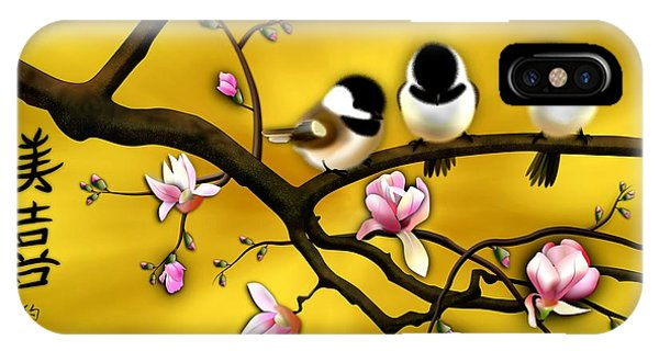 Chickadee On Blooming Magnolia Branch IPhone Case