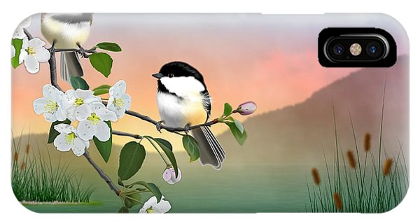 Chickadees And Apple Blossoms IPhone Case
