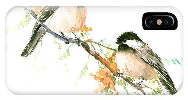 Chickadees And Orange Flowers IPhone Case