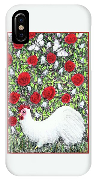 Chicken And Butterflies In The Flowers IPhone Case