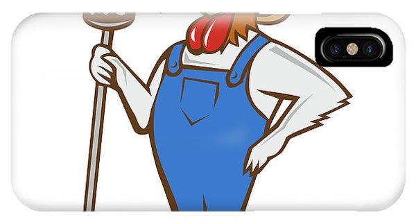 Chicken Farmer Pitchfork Isolated Cartoon IPhone Case