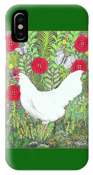 Chicken With Millefleurs And Butterflies  IPhone Case