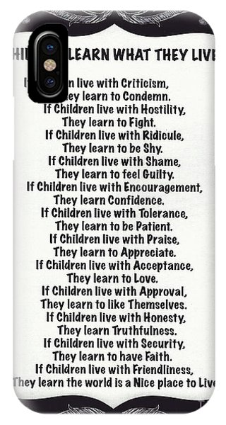 Children Learn What They Live Blackboard Chalk Art IPhone Case