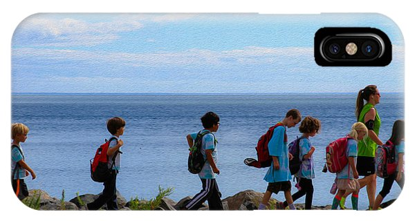 Children On Lake Walk IPhone Case
