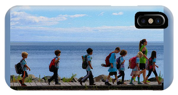 Children On Lake Walk IPhone Case