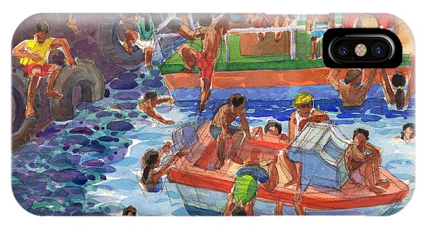 IPhone Case featuring the painting Children Playing At Avarua Wharf  by Judith Kunzle