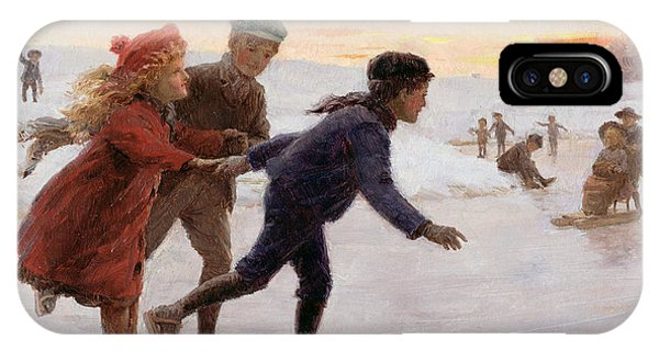 Coat iPhone Case - Children Skating by Percy Tarrant