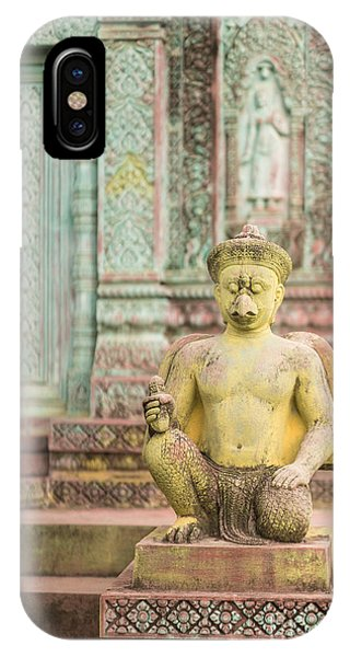 Cambodia iPhone Case - Childrens Hospital Temple Details In Siem Reap by Mike Reid