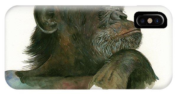 Chimpanzee iPhone Case - Chimp Portrait by Juan Bosco