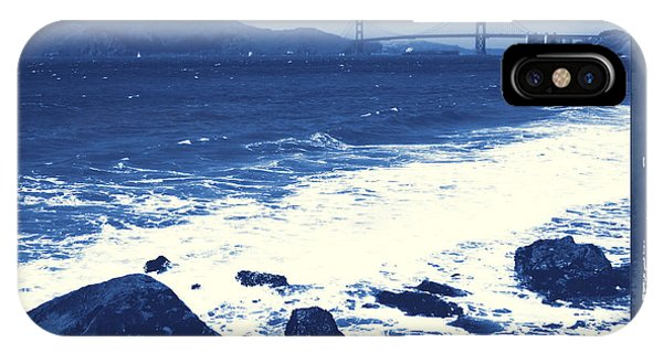 China Beach And Golden Gate Bridge With Blue Tones IPhone Case