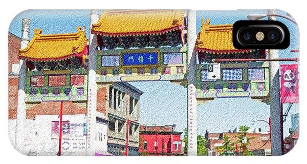 Vancouver City iPhone Case - Chinatown's Millenium Gate Digital Wc by Bob Corson