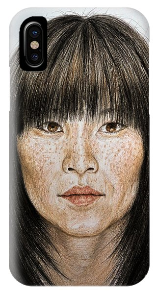 Hyper Realism iPhone Case - Chinese Beauty With Bangs by jim Fitzpatrick