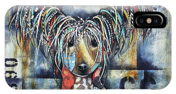 IPhone Case featuring the mixed media Chinese Crested by Patricia Lintner