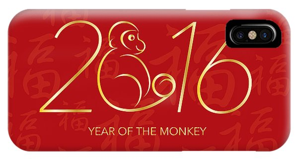 Chinese New Year 2016 Monkey On Red Background Illustration IPhone Case