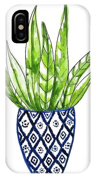 Cactus iPhone Case - Chinoiserie Cactus No2 by Roleen Senic