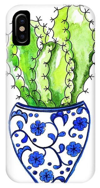 Cactus iPhone Case - Chinoiserie Cactus No3 by Roleen Senic