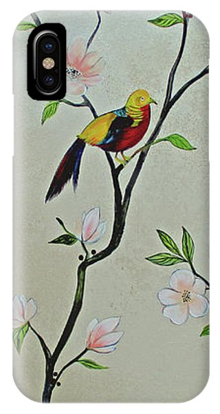 Peacocks iPhone Case - Chinoiserie - Magnolias And Birds #1 by Shadia Derbyshire