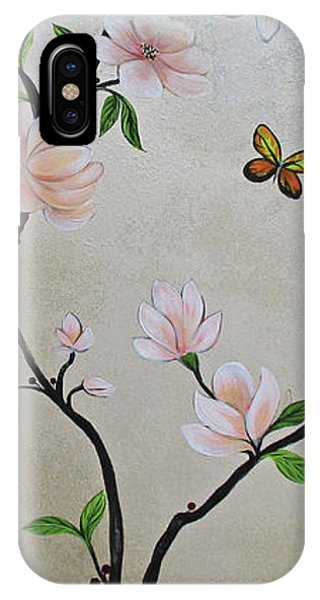 Peacocks iPhone Case - Chinoiserie - Magnolias And Birds #3 by Shadia Derbyshire