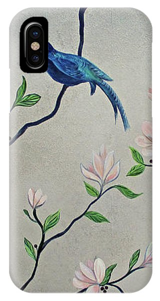 Peacocks iPhone Case - Chinoiserie - Magnolias And Birds #4 by Shadia Derbyshire