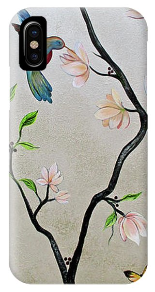 Peacocks iPhone Case - Chinoiserie - Magnolias And Birds #5 by Shadia Derbyshire