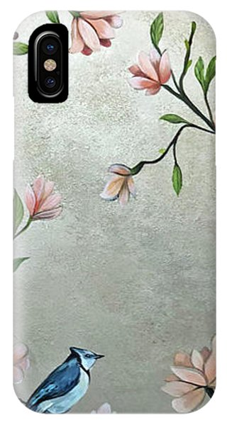 Peacocks iPhone Case - Chinoiserie - Magnolias And Birds by Shadia Derbyshire