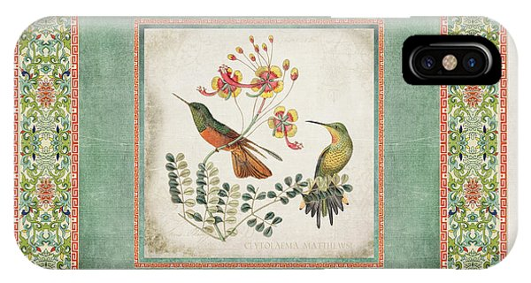 Old iPhone Case - Chinoiserie Vintage Hummingbirds N Flowers 1 by Audrey Jeanne Roberts