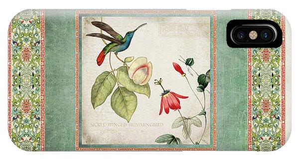 Chinoiserie Vintage Hummingbirds N Flowers 2 IPhone Case