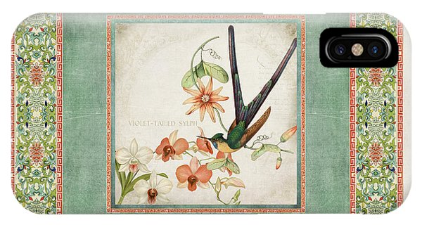 Chinoiserie Vintage Hummingbirds N Flowers 3 IPhone Case