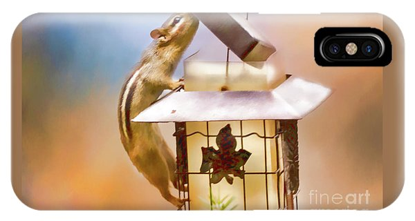 Chipmunk  At The Feeder 1 Nursery Triptych IPhone Case