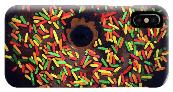 Chocolate Donut And Sprinkles Large Painting IPhone Case