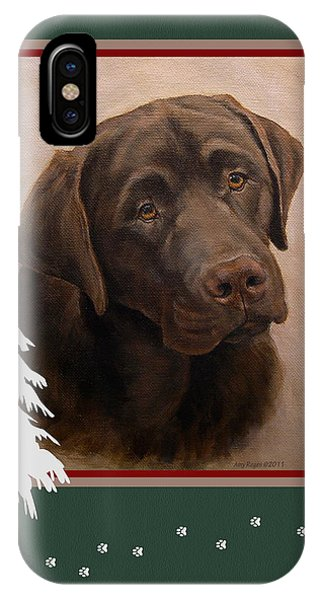 Chocolate Labrador Portrait Christmas IPhone Case