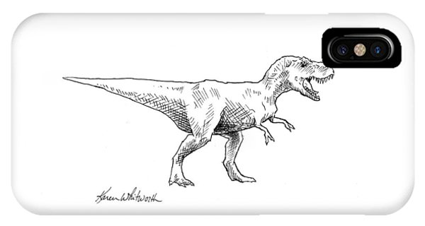 Dinosaur iPhone Case - Tyrannosaurus Rex Dinosaur T-rex Ink Drawing Illustration by Karen Whitworth