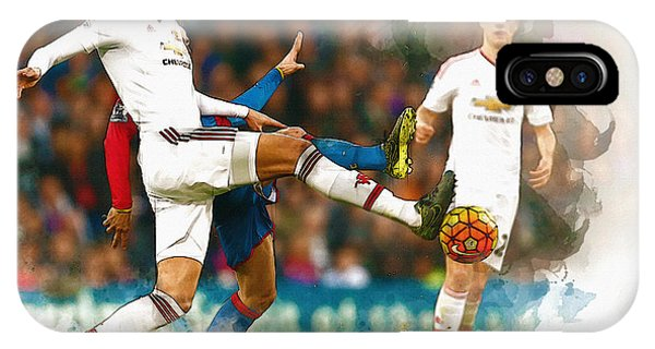 Wayne Rooney iPhone Case - Chris Smalling  In Action  by Don Kuing