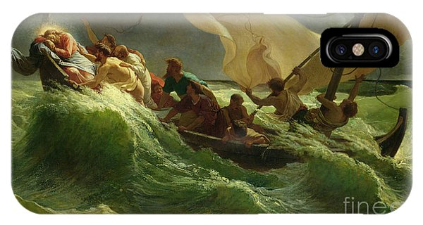 Life Of Christ iPhone Case - Christ Asleep In His Boat  by Jules Joseph Meynier