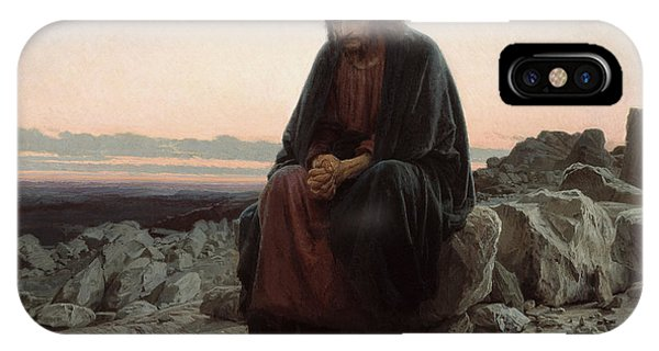 IPhone Case featuring the painting Christ In The Desert by Ivan Kramskoi