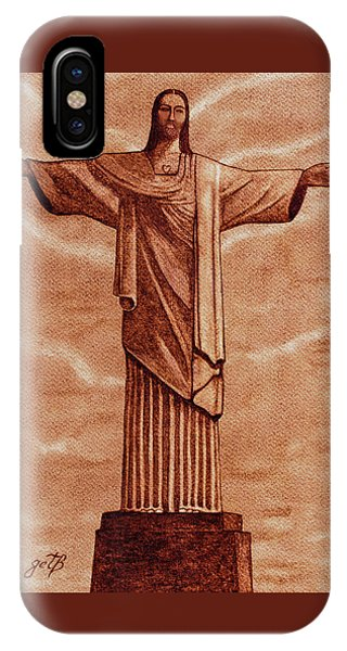 Christ The Redeemer Statue Original Coffee Painting IPhone Case
