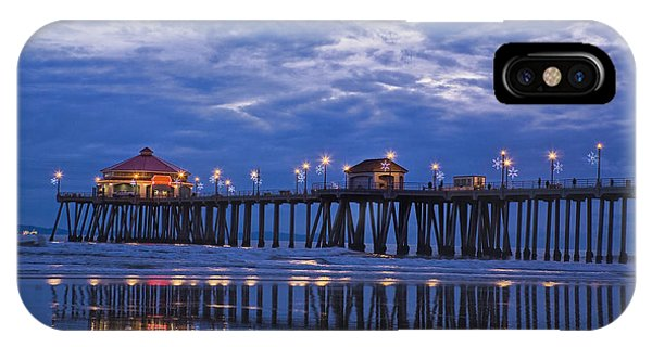 Christmas At The Huntington Beach Pier IPhone Case