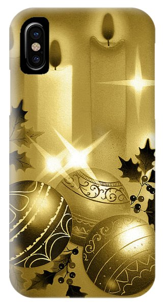 Christmas Balls And Candles Black And Gold IPhone Case
